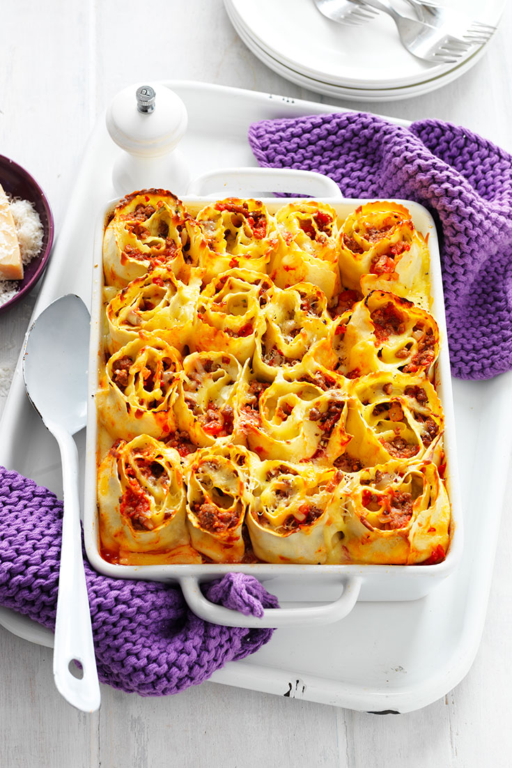This stunning lasagne roll-ups recipe is a perfect family dinner idea.