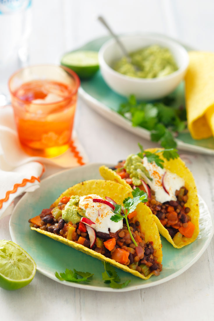 This easy and delicious lentil and black bean taco recipe is the perfect family dinner idea.