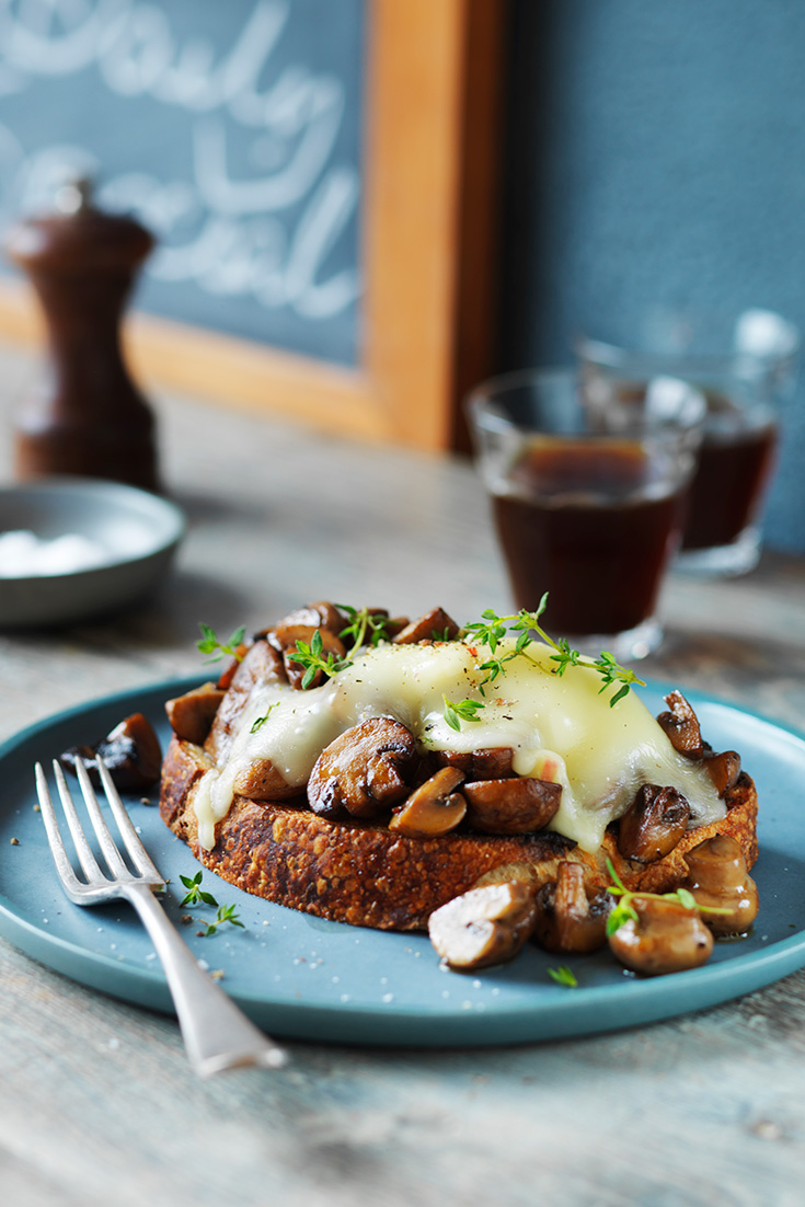Mushrooms and taleggio make perfect toasts toppers and placed on delicious sourdough you have a easy breakfast or brunch idea.