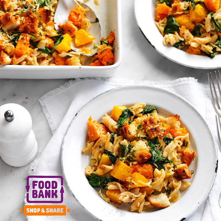 This scrumptious pumpkin and spinach crunch topped pasta bake recipe is perfect to serve at your next dinner party or for an easy family meal.