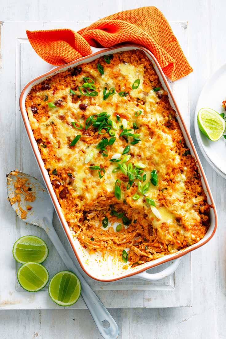 This stunning Mexican chicken and rice casserole recipe is there perfect family dinner idea for busy weeknights.