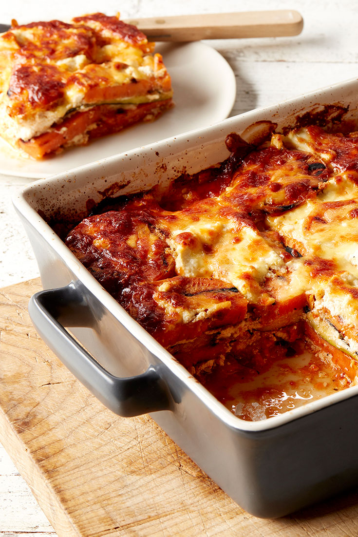 This delicious zucchini and sweet potato lasagne recipe is the perfect family dinner idea.