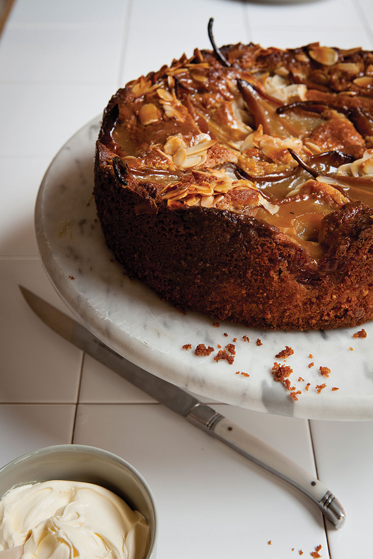 This delicious beurre bosc pear and almond butter cake recipe is the perfect afternoon tea delight.
