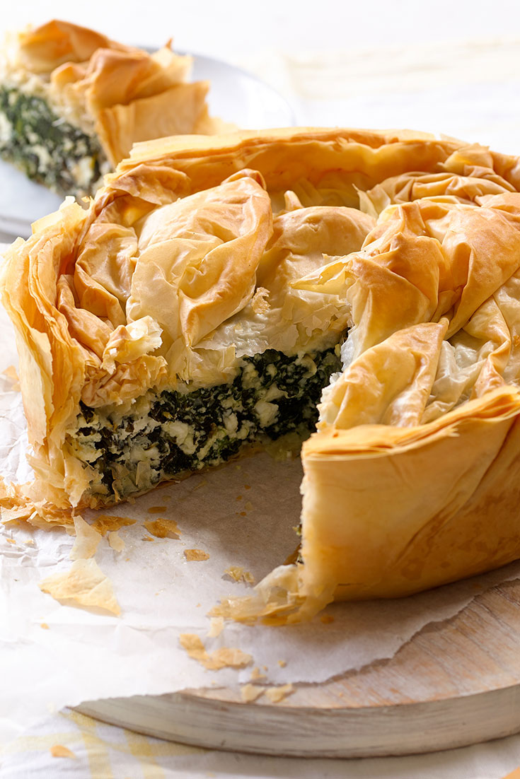 This easy cheese and greens filo pie is perfect for any vegetarian dads out there.