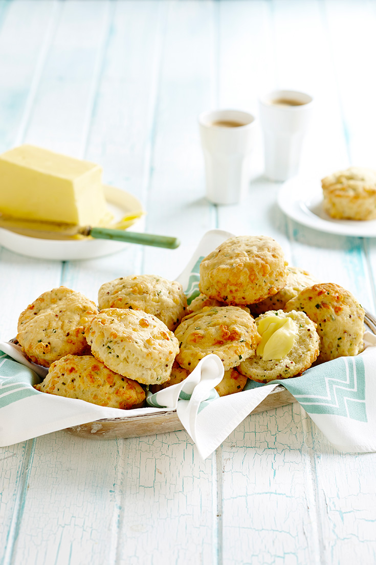 This super delicious and easy cheesy chimes and mustard scones recipe is the perfect savoury scone idea for morning tea.