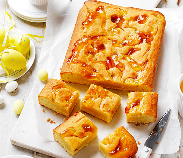 This easy but delicious almond and marmalade blondie recipe is the perfect morning tea treat for dad on Father's Day .