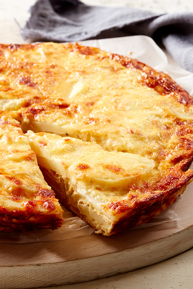 This easy potato, mozzarella and caramelised onion frittata recipe is great family dinner idea for busy weeks.