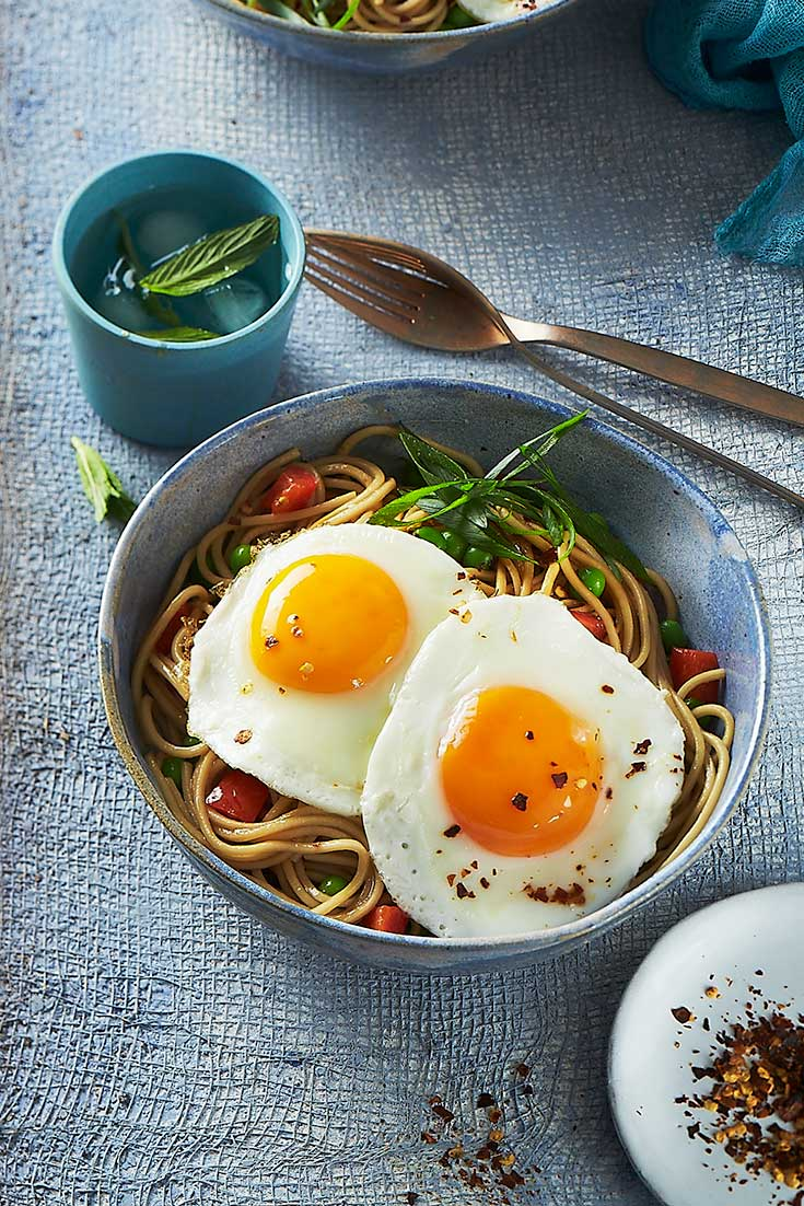 Enjoy this easy ramen recipe with an extra serve of protein with fried eggs on top.