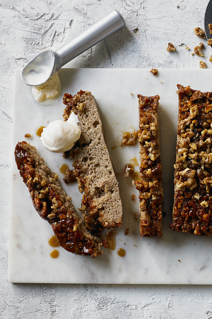 This easy upside down banana and walnut cake recipe is great and tasty way to use overripe bananas.