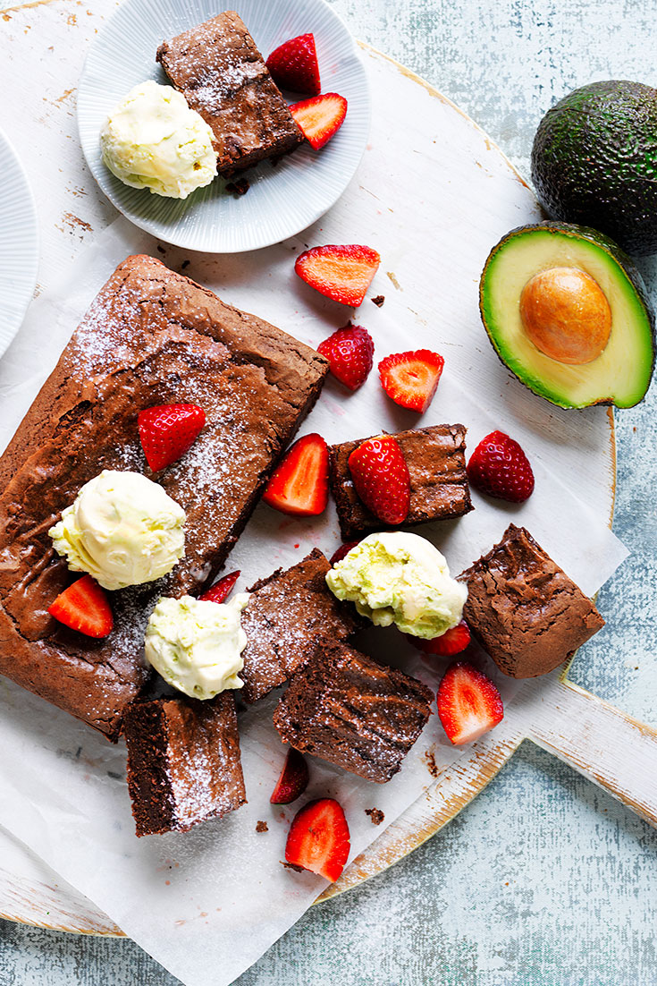This easy decadent avocado brownie with easy avocado ice-cream recipe will certainly satisfy dad's sweet tooth.