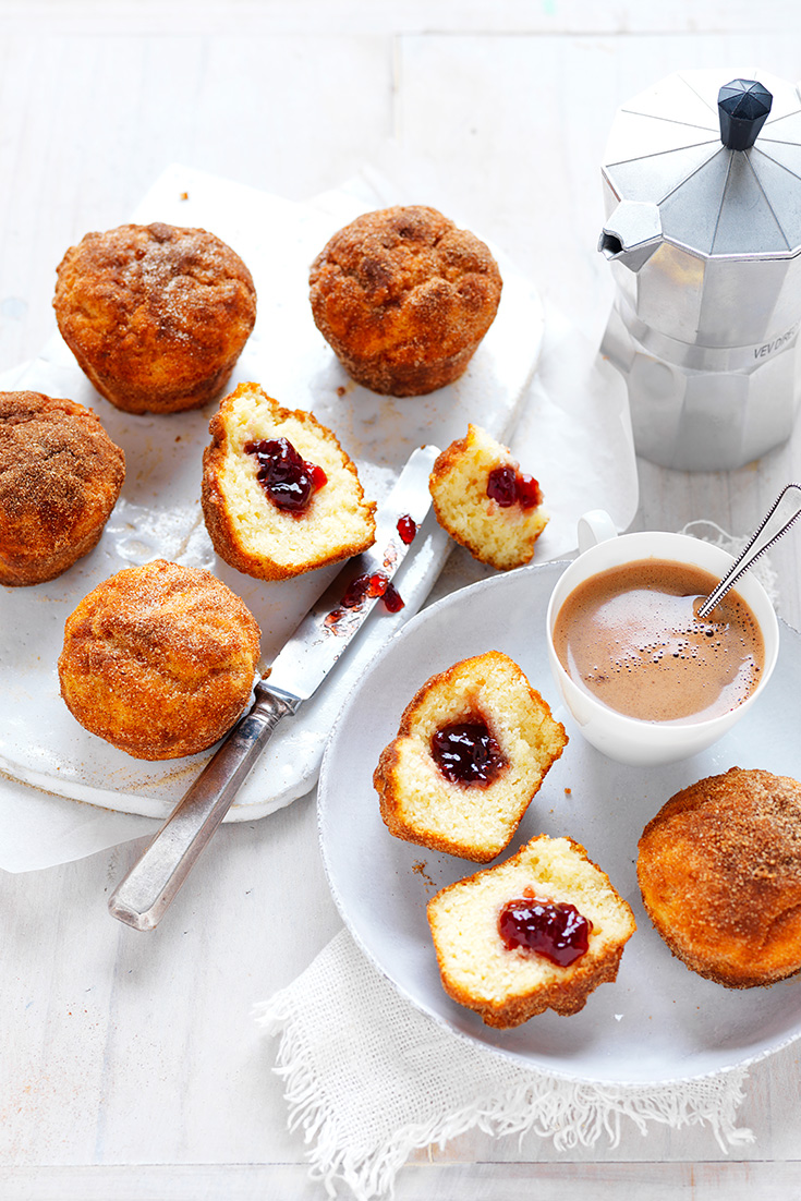 These extremely delicious jam doughnut muffins will have everyone asking for more at your morning tea.