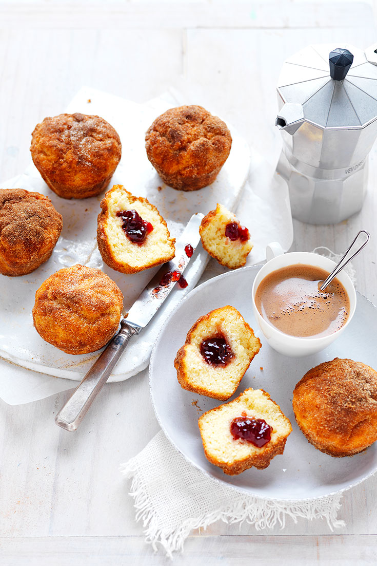 These jam doughnut muffins are the perfect morning treat for dad on Father's Day.