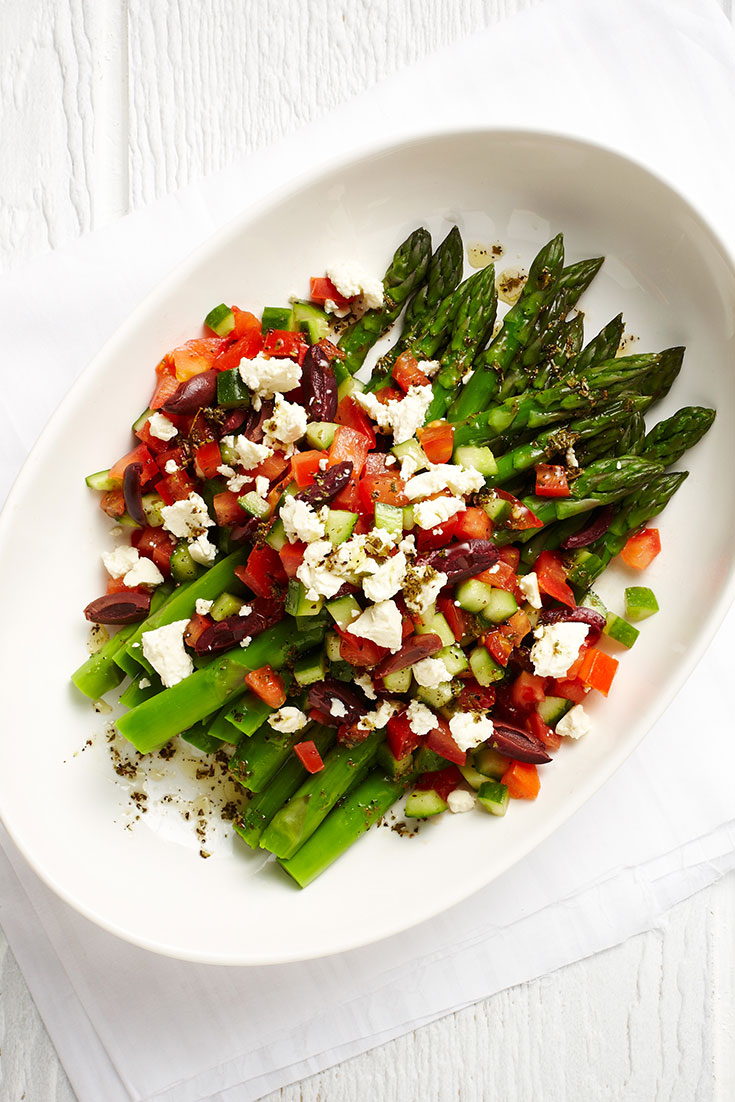 This easy asparagus with greek salad dressing is a lovely fresh spring recipe idea.