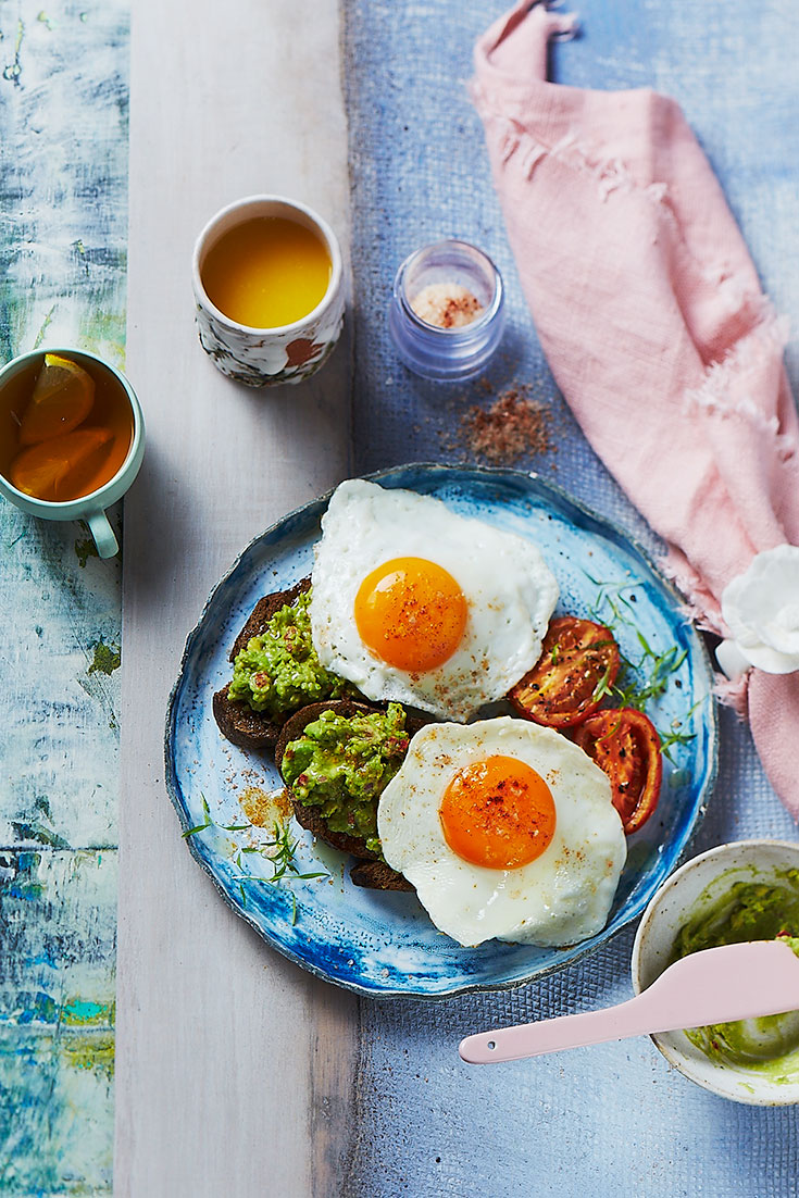 This easy fried eggs with spiced avocado recipe is a great eggs brekky idea to keep you going all morning.