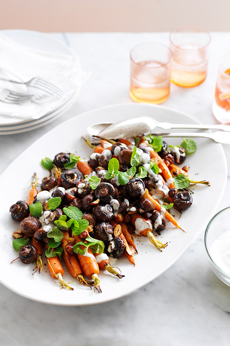 This easy maple roasted mushroom and carrot salad recipe is the perfect spring salad to enjoy with your favourite meat.