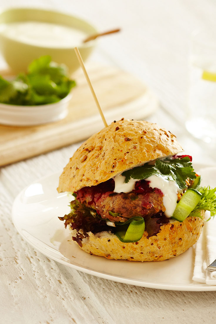 This delicious spiced lamb burger recipe with fresh beetroot relish is an easy family dinner idea using leftover mince.