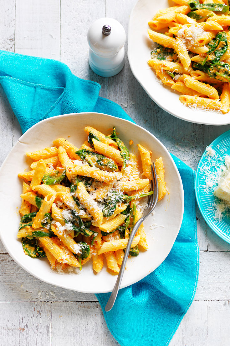 This easy sweet potato Alfredo penne recipe is a delicious spring-ready dinner idea to satisfy everyone.