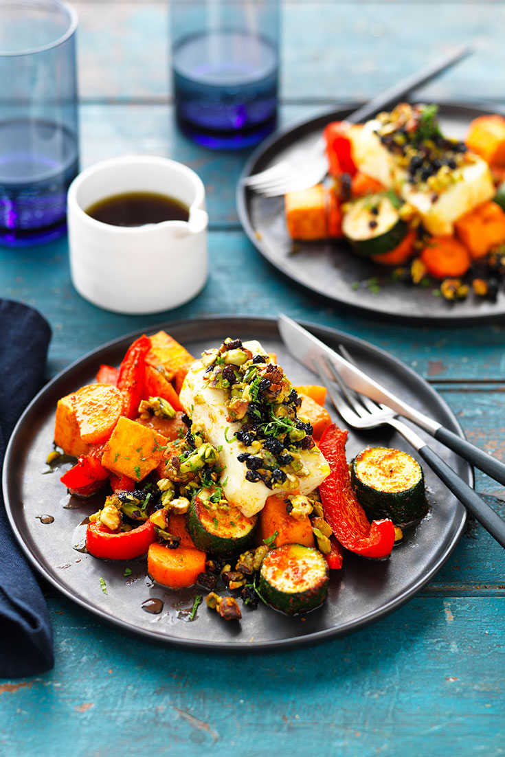 This easy and delicious jewelled haloumi with spiced vegetable bake recipe is great for spring entertaining to satisfy any vegetarian guests.