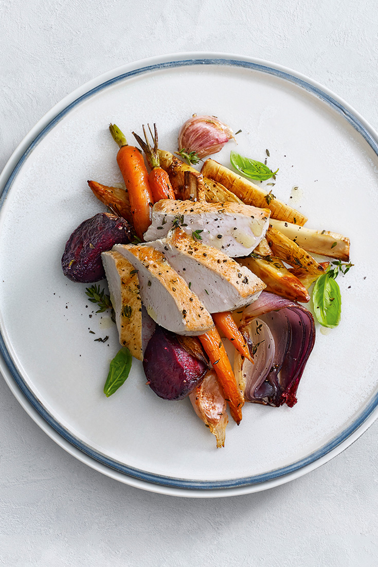 This easy pan fried turkey breast with roasted root vegetables recipe is an easy dinner idea or lunch for weekends and during the week.