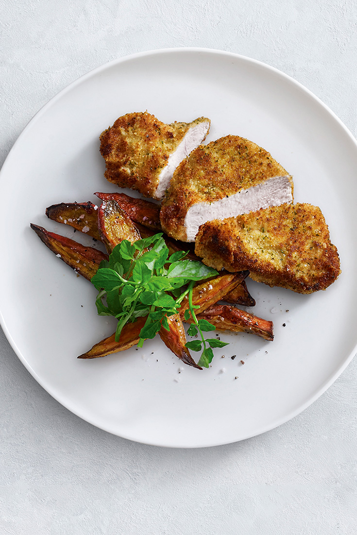 This easy herb and parmesan crumbed turkey breast recipe is a refreshing change to chicken which is extremely high in protein and essential vitamins.