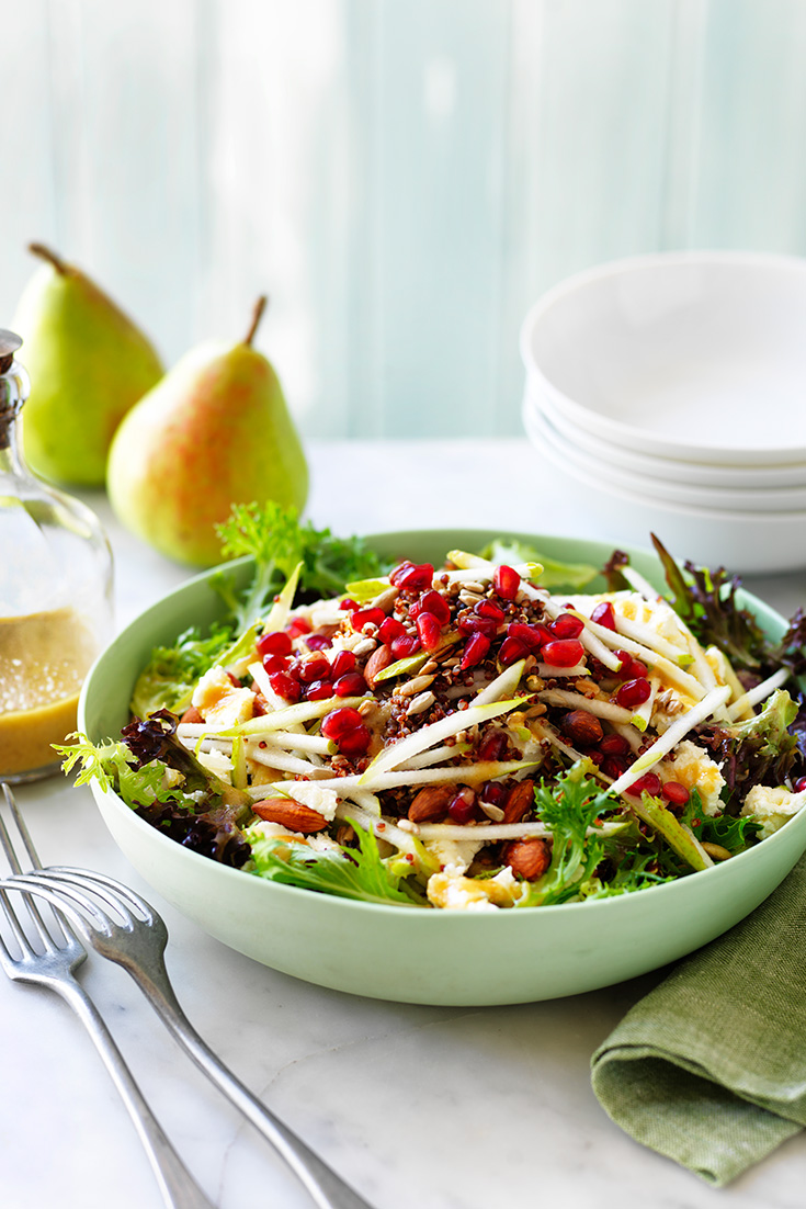 This delicious pear and super grain salad recipe is the perfect spring salad for lunch or dinner.