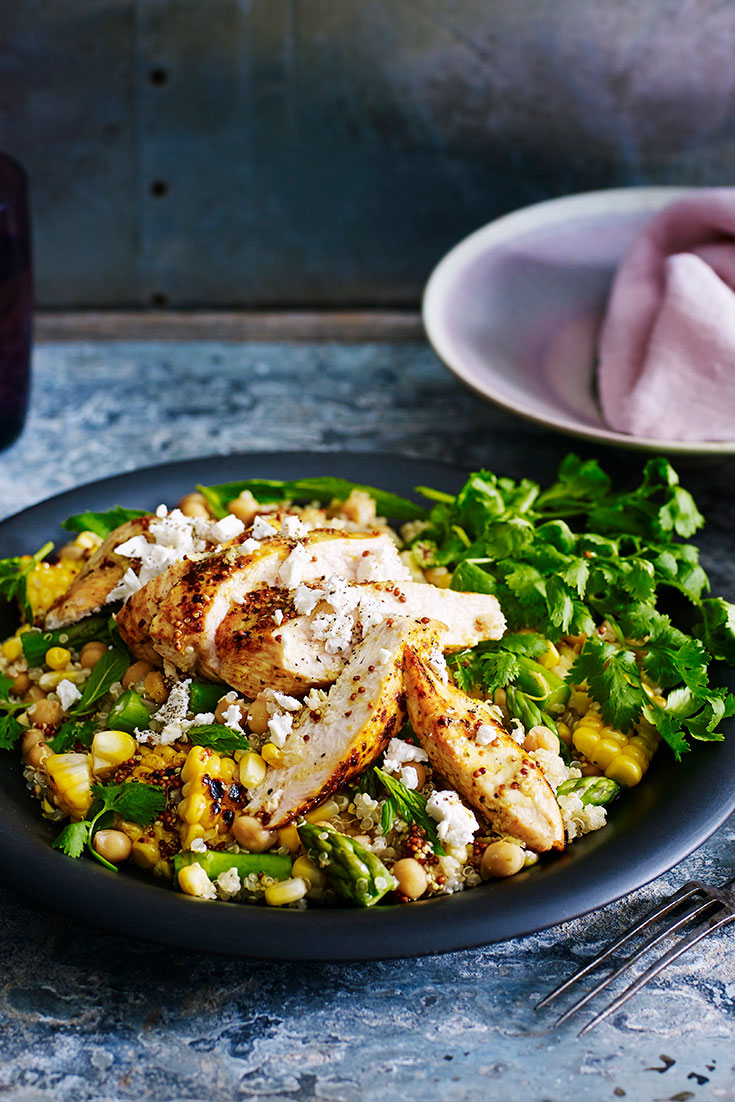 This easy moroccan style chicken warm salad recipe can be enjoyed for lunch or dinner.
