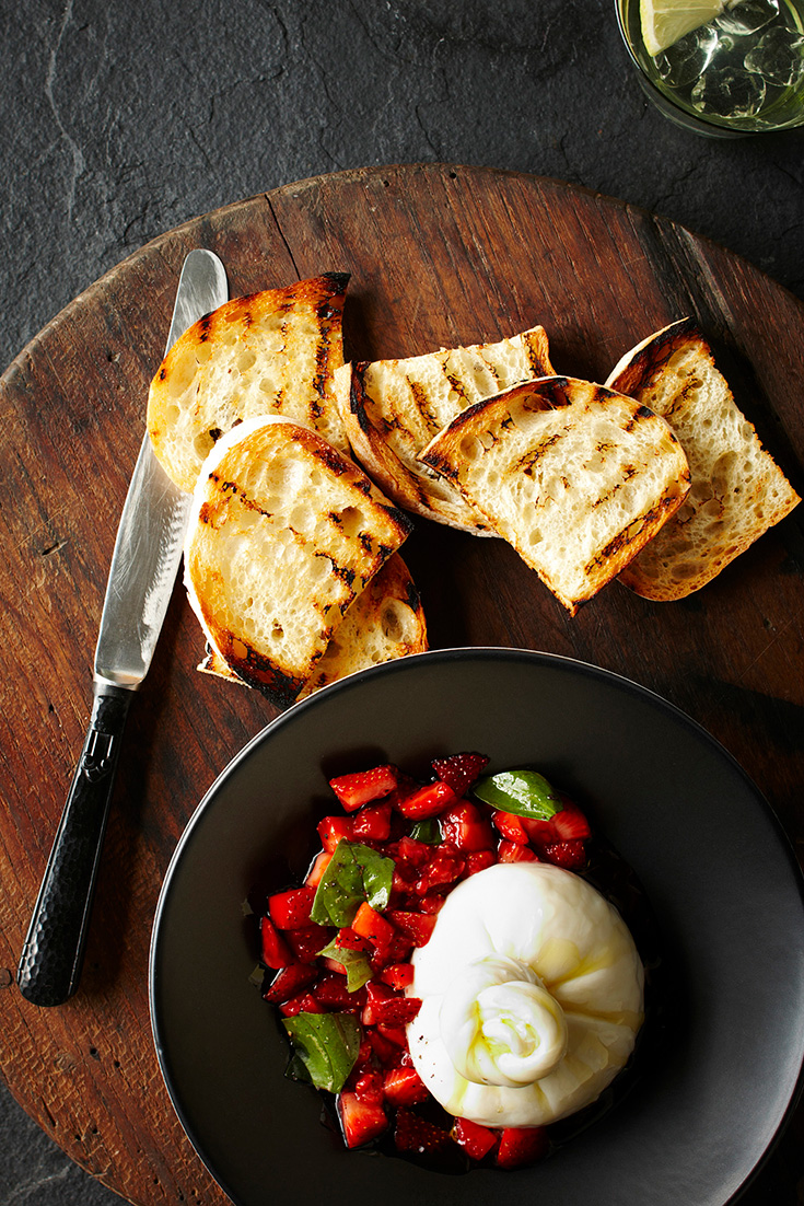 This easy burrata with strawberry and Basil salsa recipe is the perfect appetiser for easy entertaining.