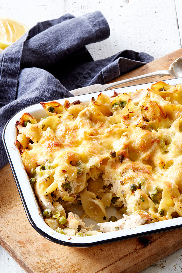 This easy chicken, leek and pea pasta bake recipe is a great dinner idea to serve to the family or at your next dinner party.
