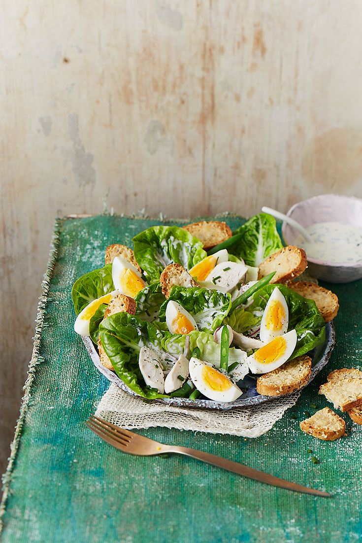 This easy egg and chicken Caesar recipe the perfect light lunch or dinner idea.