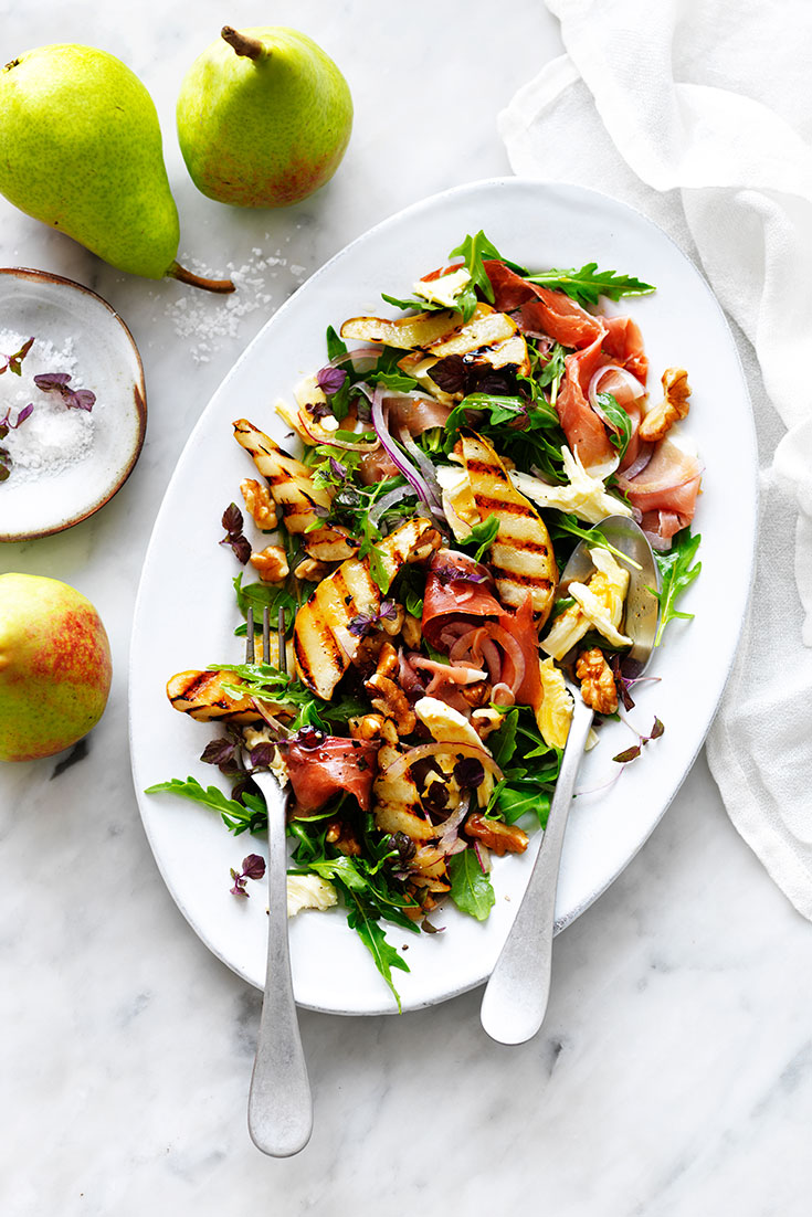 This stunning grilled pear, rocket and prosciutto salad recipe is the perfect entertaining dish.