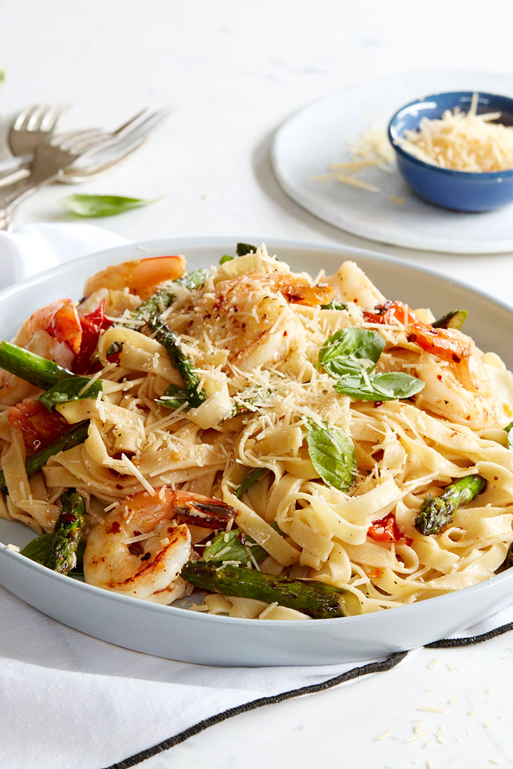 This delicious prawn pasta recipe is a great pasta dish to serve up at your next dinner party.