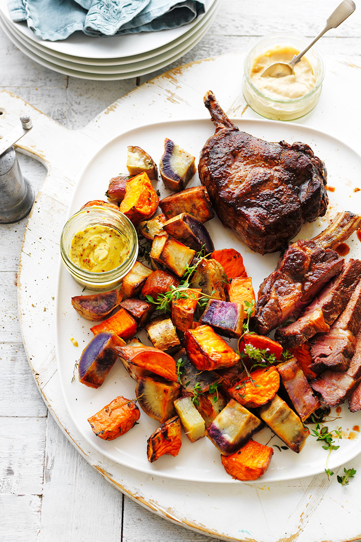 This easy roast sweet potato medley with rib-eye steak recipes is a great family dinner idea that everyone will enjoy.