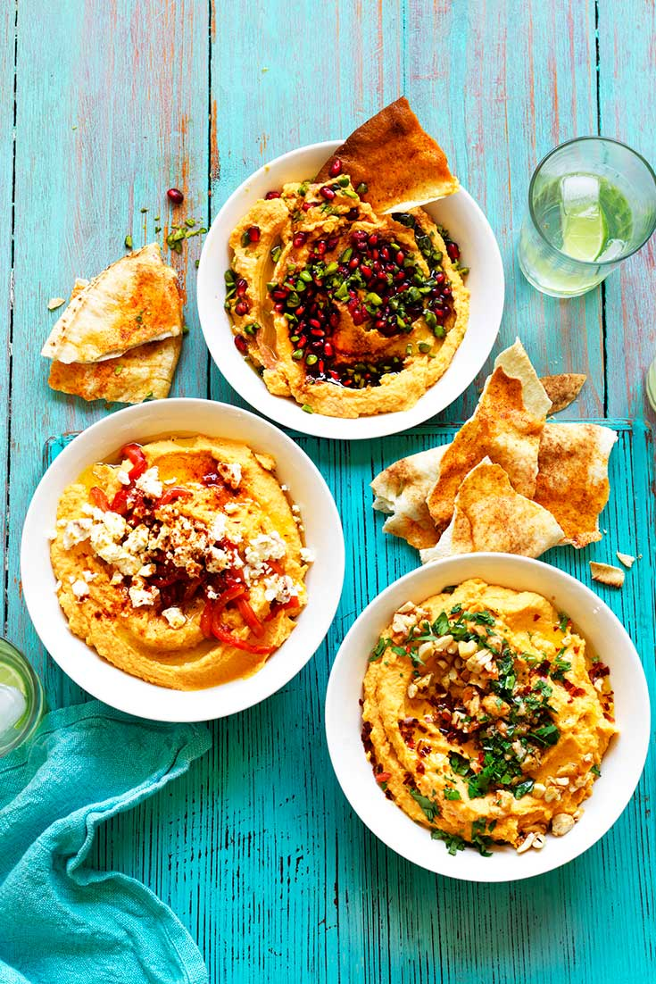 This easy sweet potato hummus recipe is delicious and quick and can be enjoyed with 3 different toppings.