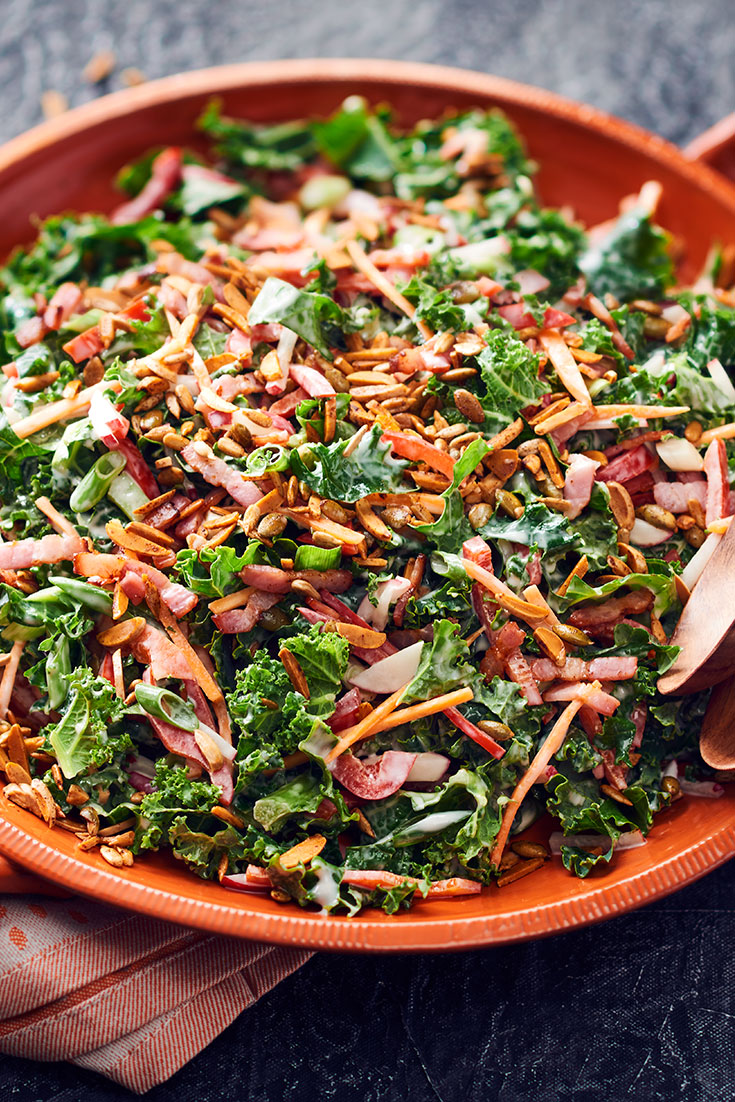 This easy crunchy kale slaw recipe is the perfect summertime salad. Follow the tips to dress your salad the right way.