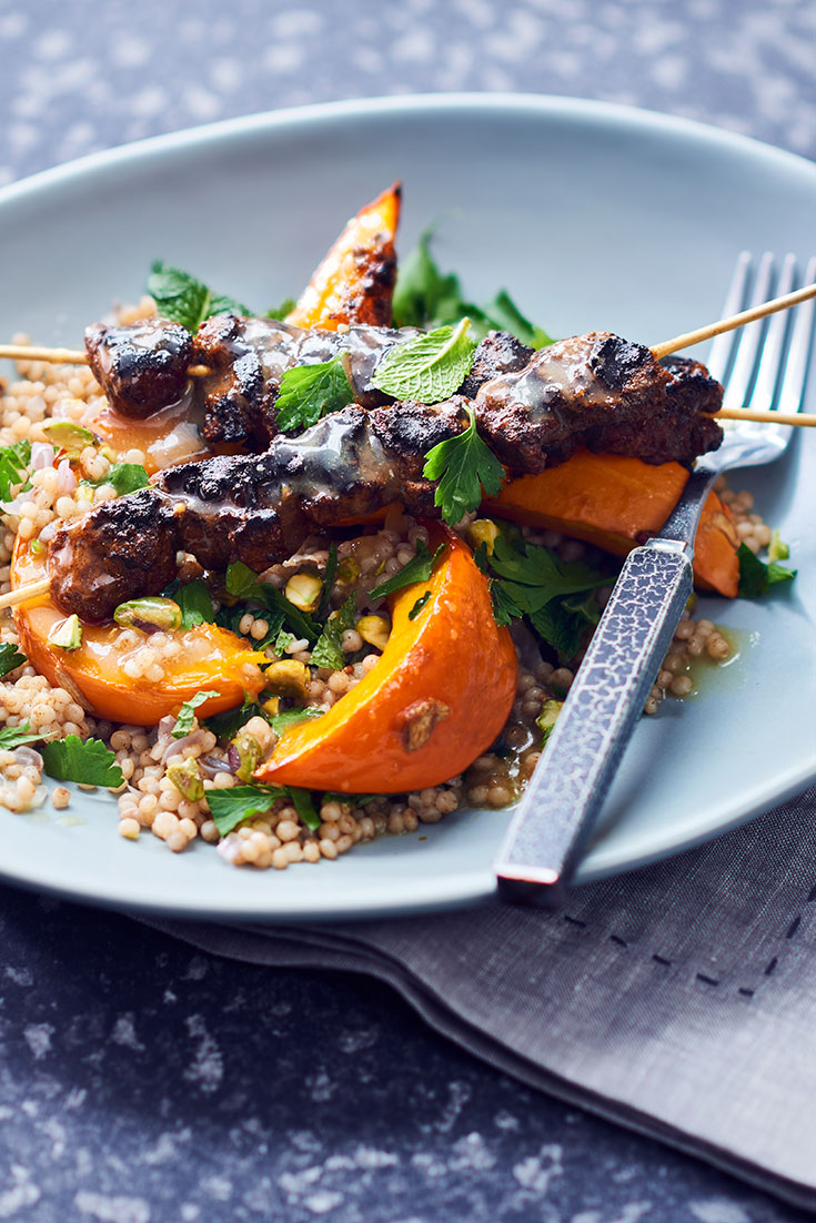 This delicious roasted pumpkin and couscous salad with lamb skewers recipes is the ultimate family salad recipes.