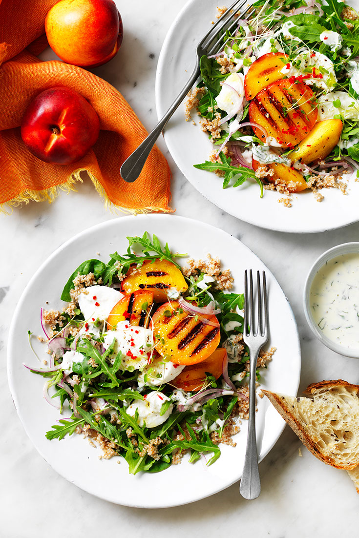 This stunning grilled yellow nectarine salad recipe is the perfect dish to serve at a dinner party to any other celebration.