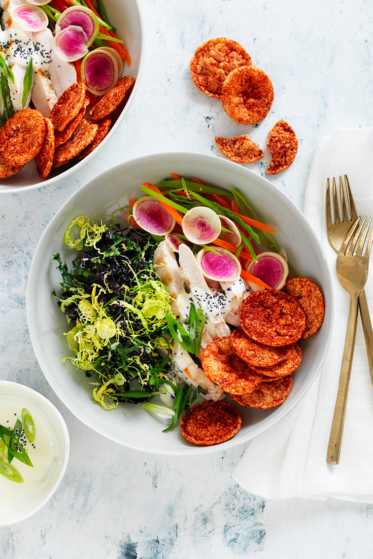 This stunning crunchy nourish bowl recipe is perfect for lunch or dinner. Served with delicious Cobs Hip Chips this dish will be loved by all.