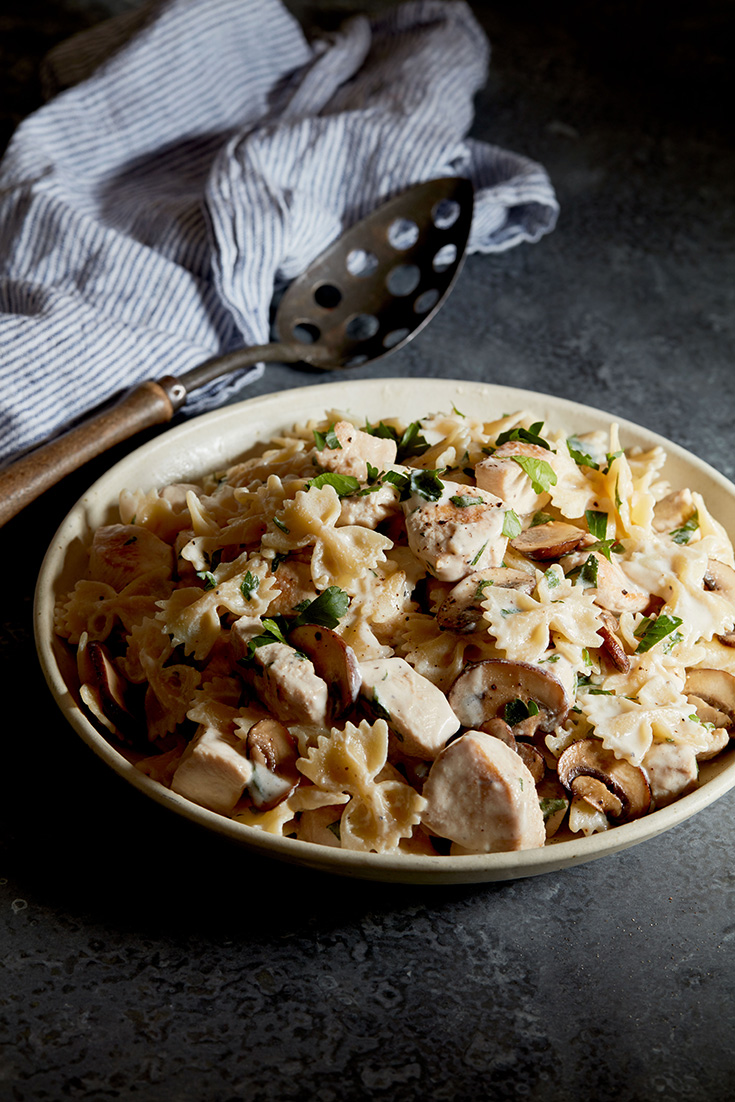 This easy chicken and mushroom farfalle with four cheese ricotta recipe is a great mid-week pasta recipes that the whole family will love.