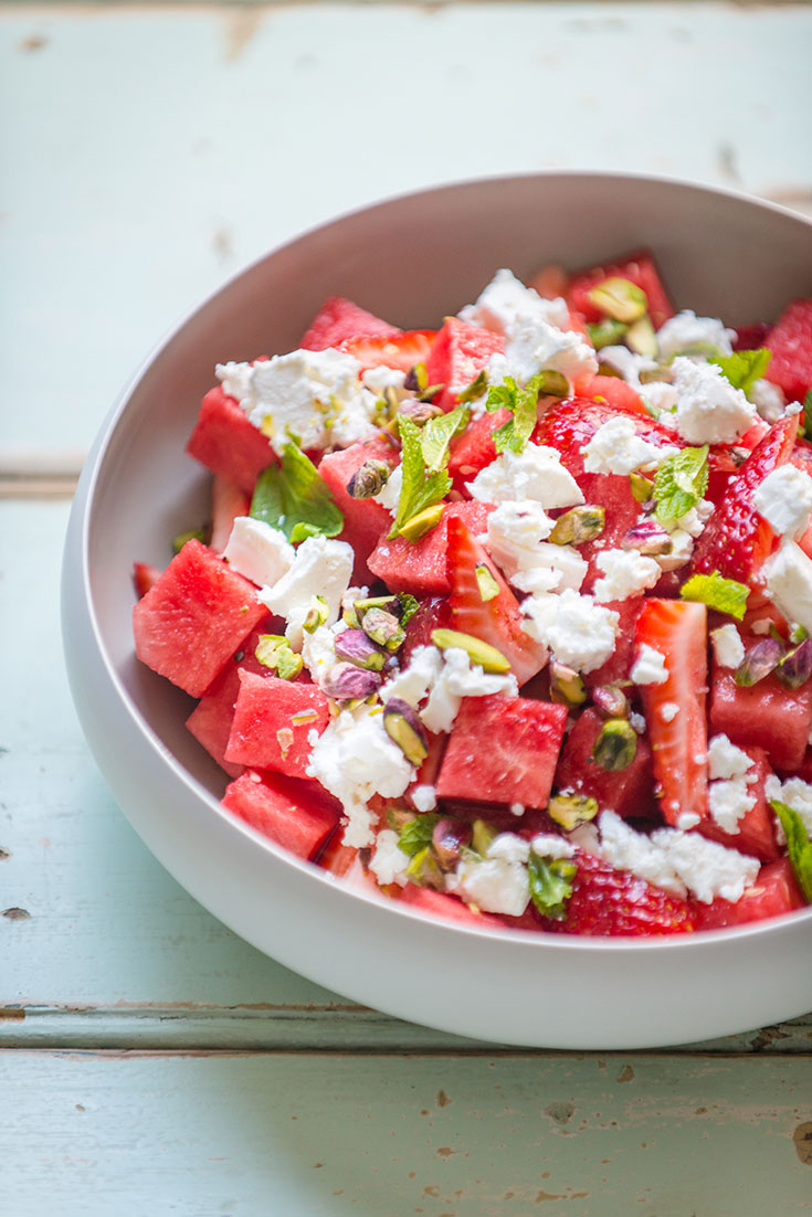 This stunning watermelon, strawberry and feta salad recipe is the perfect summertime salad recipe.
