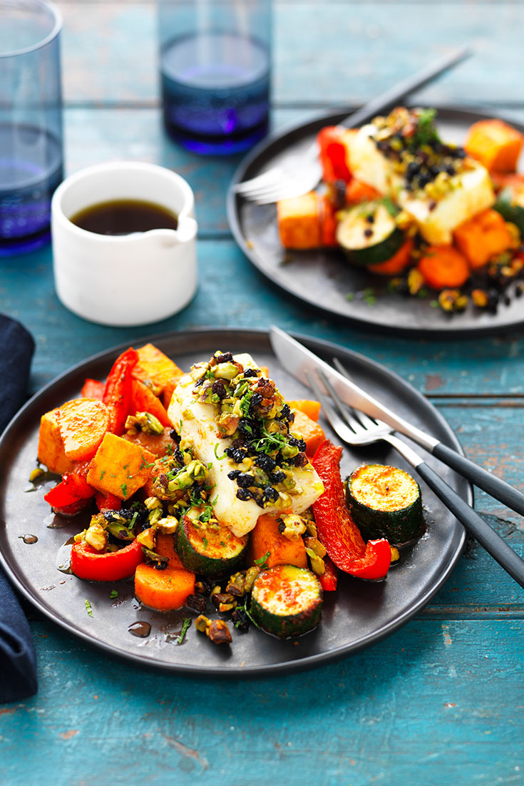 This easy jewelled haloumi with spiced vegetable bake recipe is a delicious gourmet cheese recipe.