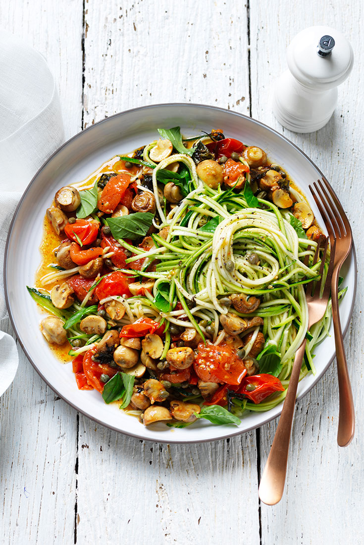 This easy zoodle and mushroom salad recipe is a lovely and light dish to be enjoyed this summer.