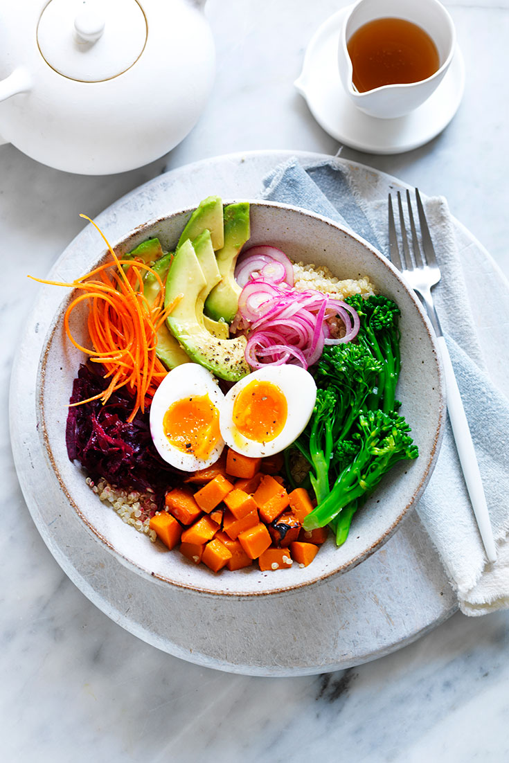 The easy egg buddha bowl recipe is a great vegetarian lunch or dinner idea for the whole family.