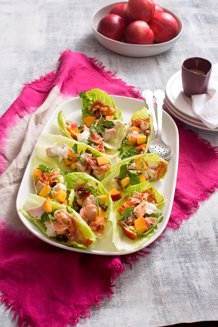 Use up any leftover Christmas turkey with this light turkey, nectarine and walnut salad in lettuce cups.
