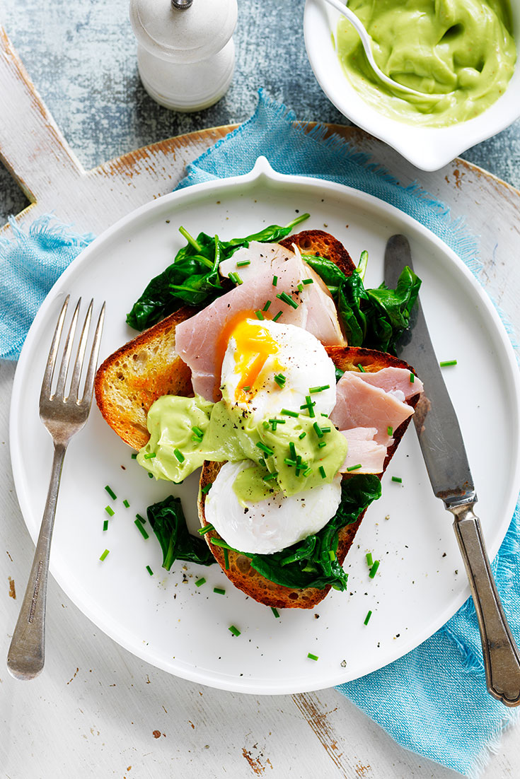 This delicious avocado hollandaise wit eggs, ham and spinach recipe is a great way to enjoy Christmas ham for breakfast .