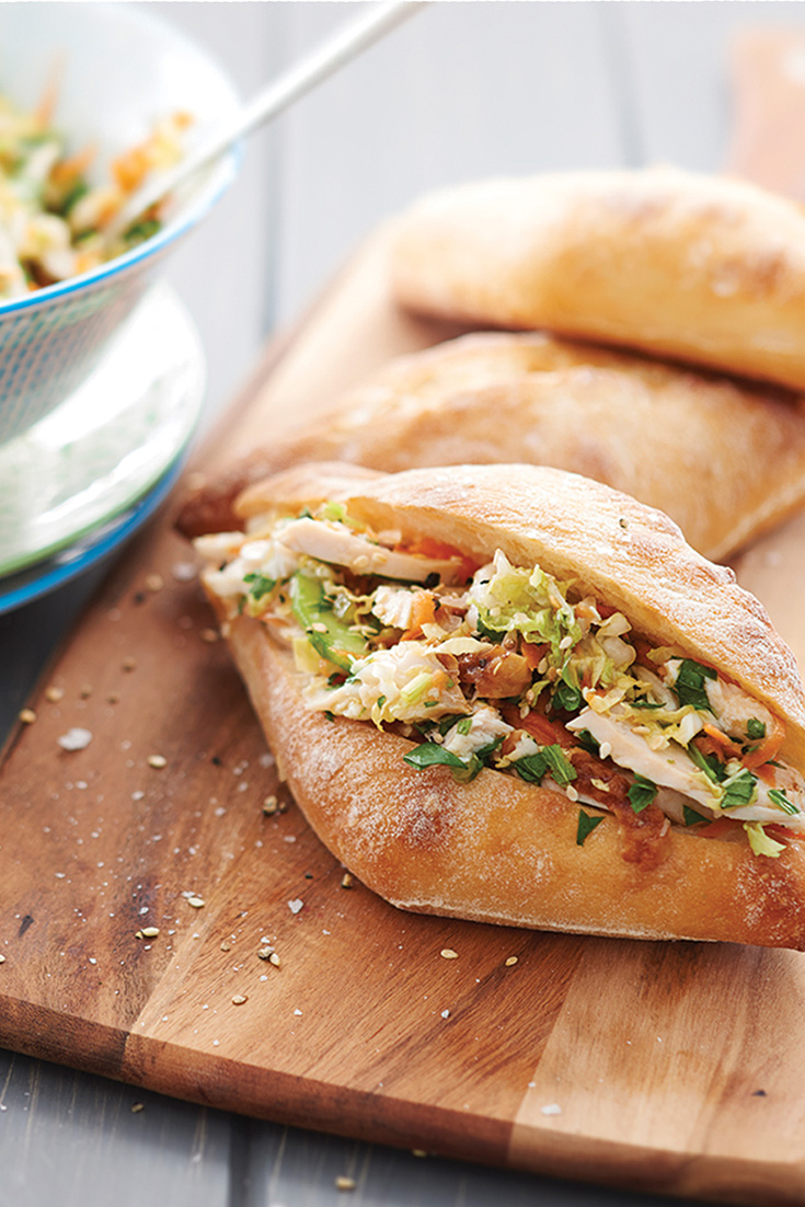 This easy and roast chicken asian slaw buns recipe is the perfect lunch idea to enjoy at a picnic.