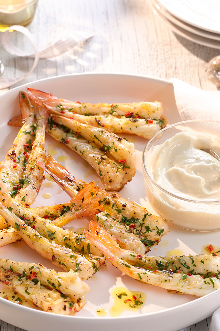 This easy BBQ garlic, lime and chilli prawns recipe is the perfect starter dish to serve on Christmas Day.