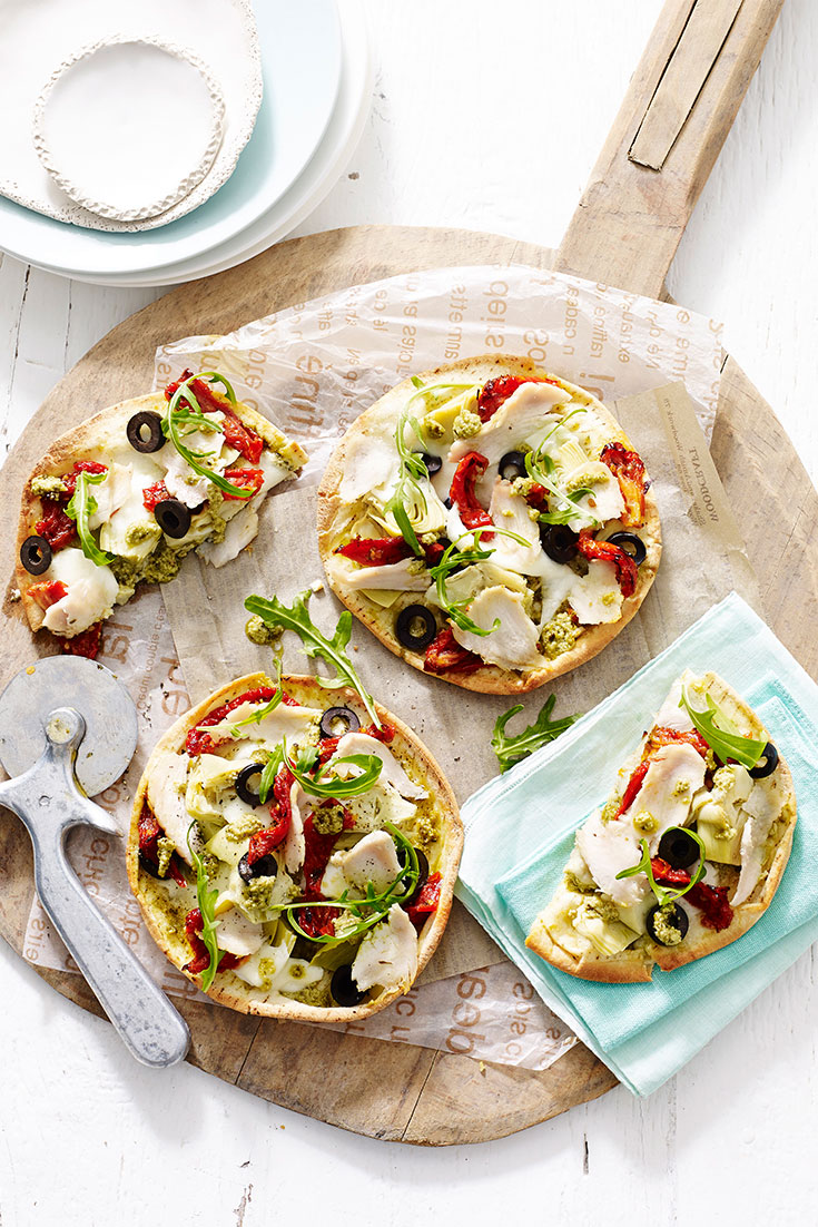 This easy chicken and pesto pita pizza with buffalo mozzarella recipe is a quick and easy chicken recipe for the family.