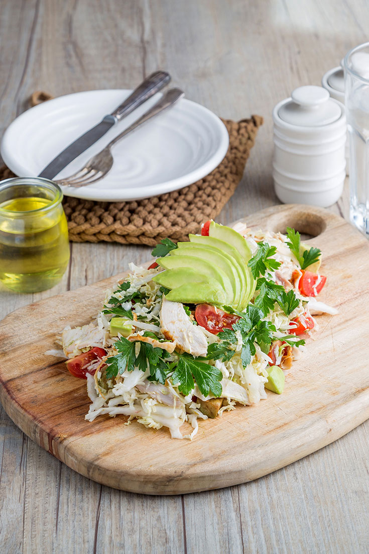 This easy no-cook chicken and avocado salad recipe is the perfect mid-week dinner idea.
