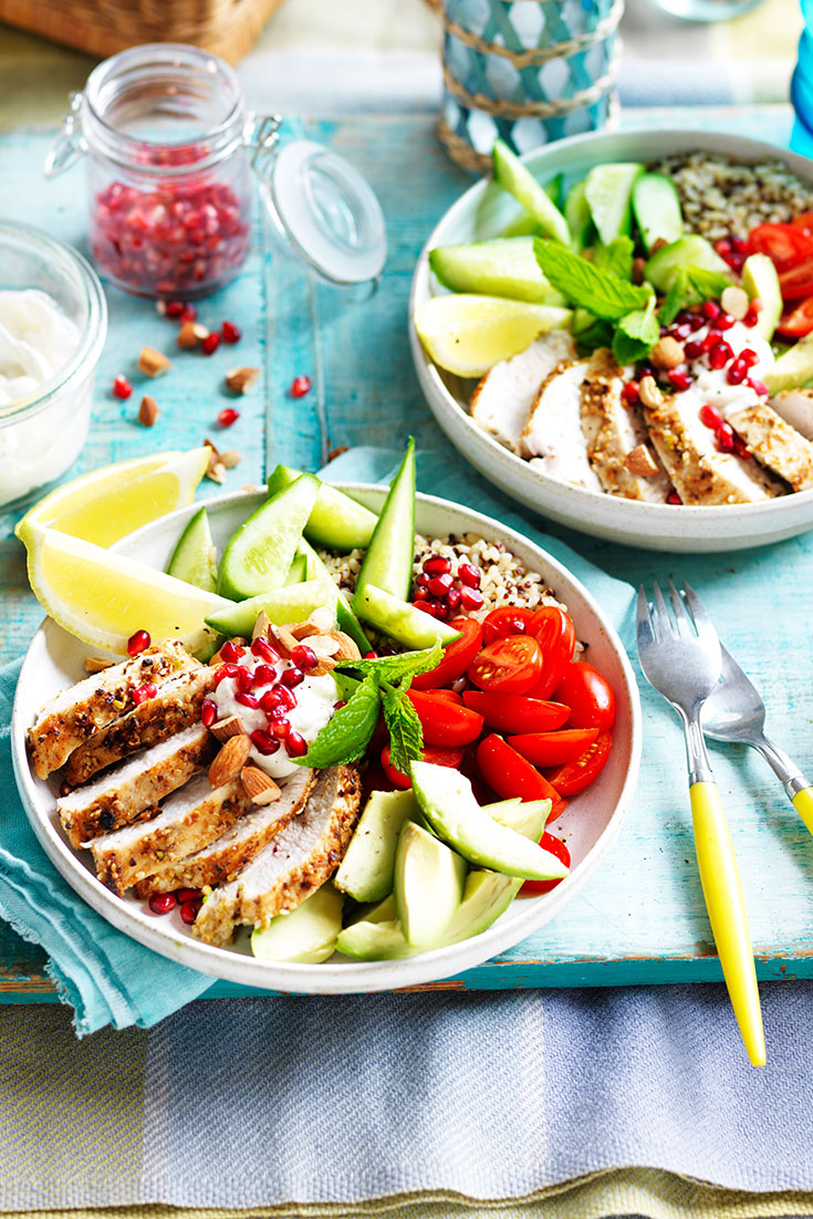 This quick and easy chicken nourish bowl recipe is the perfect summer time dinner idea.