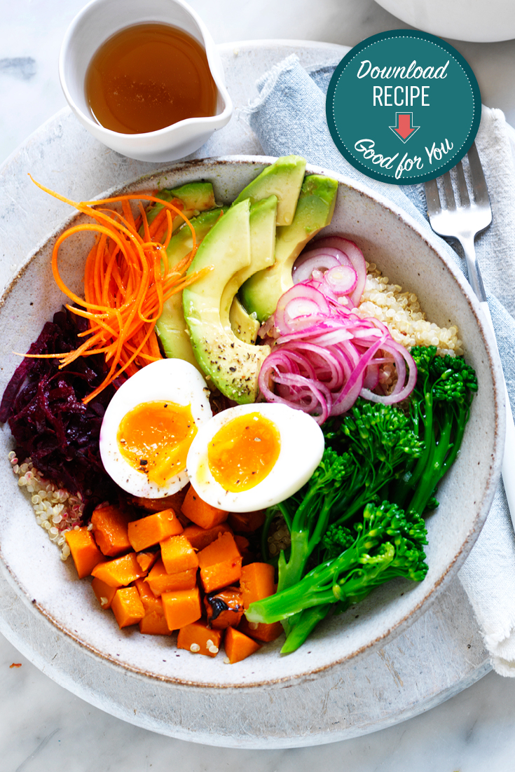 This egg buddha recipe is a quick and easy vegetarian lunch idea.